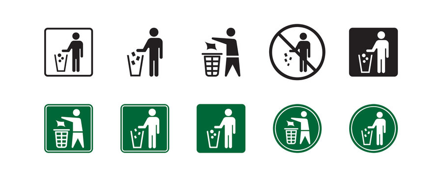Do not litter sign icon. Vector graphic illustration. Suitable for website design, logo, app, template, banner, and more.