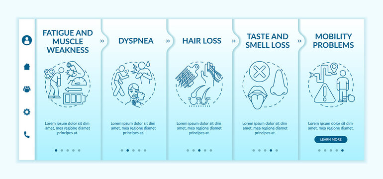 Fatigue and muscle weakness onboarding vector template. Loss smell and taste. Mobility problems. Responsive mobile website with icons. Webpage walkthrough step screens. RGB color concept