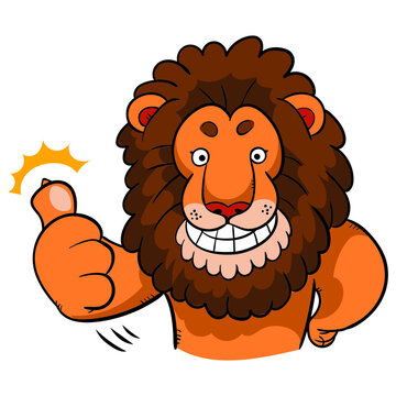 Cartoon lion with thumbs up gesture