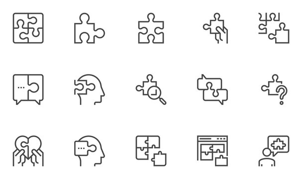 Set of Vector Line Icons Related to Puzzle. Puzzle Pieces, Conundrum, Mental Technique, Thinking Man. Editable Stroke. 48x48 Pixel Perfect.