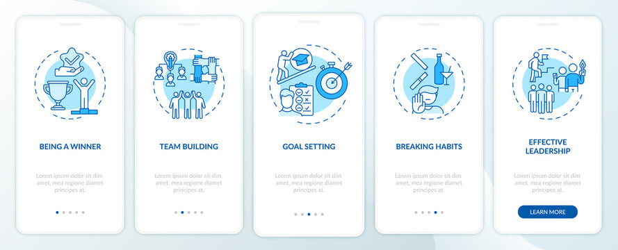 Motivational content types onboarding mobile app page screen with concepts. Learning to break habits walkthrough 5 steps graphic instructions. UI vector template with RGB color illustrations