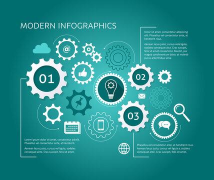 Modern vector design template gear wheels concept