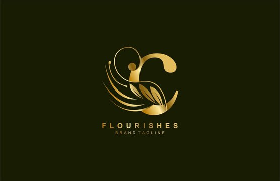 lowercase letter c linked beauty flourish golden color logo design