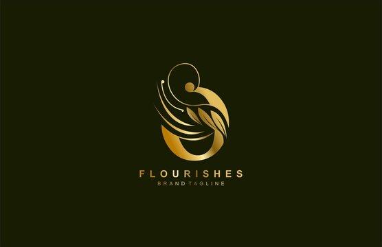 lowercase letter o linked beauty flourish golden color logo design
