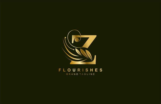 lowercase letter z linked beauty flourish golden color logo design