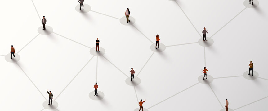 Connecting people. Social network concept. Bright background