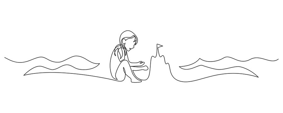 Child building a sand castle on the beach. Continuous line art drawing style. Happy summer vacation. Girl playing on the beach black linear sketch isolated on white background. Vector illustration