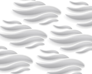 Abstract pattern of white volumetric waves. fluid aqua shapes, feather or seaweed, medical technolody backdrop