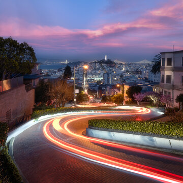 Light trails at Lombard Street in San Francisco