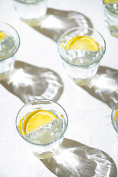 Refreshing water infused with lemon