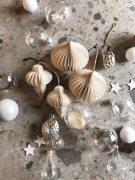 White and silver Christmas ornaments