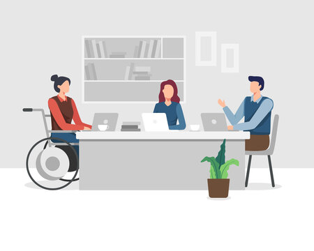 Disabled people in office. Young women with disabilities work in an office with a team, Meeting and Brainstorming project. Young woman in wheelchair working with colleague. Vector in a flat style