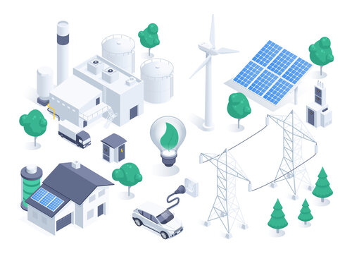 isometric vector illustration isolated on white background, wind generator and solar battery, green energy, electric car and solar powered house