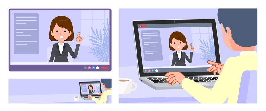 flat type business women_video-chat