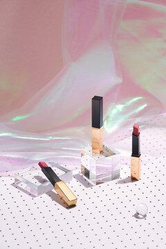Beautiful luxury modern high end red orange bold Lipstick