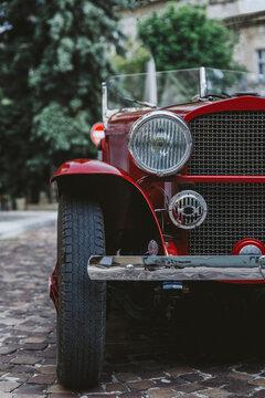 Bonnet of vintage convertible