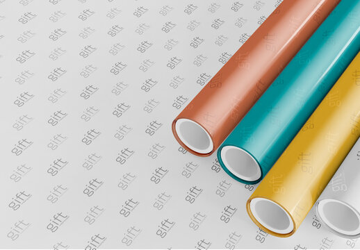 Wrapping Paper Rolls Mockup