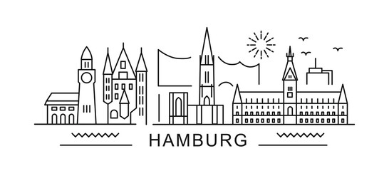 Fototapeta Hamburg minimal style City Outline Skyline with Typographic. Vector cityscape with famous landmarks. Illustration for prints on bags, posters, cards.  obraz