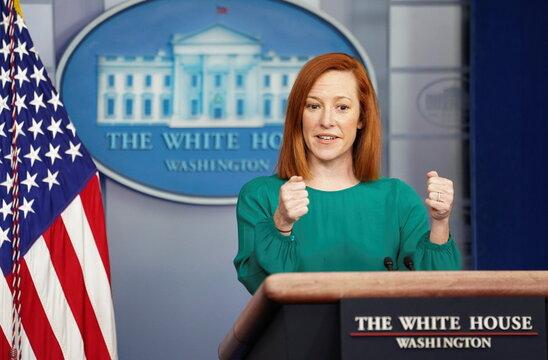 Jen Psaki speaks at the White House in Washington