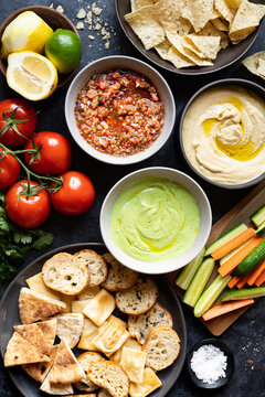 ASSORTED APPETIZER PLATTER WITH THREE DIPS