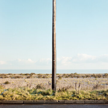 Seascape and telegraph pole