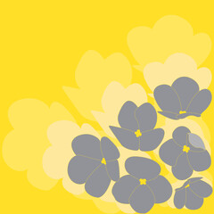 An illustration of ultimate gray viola flowers on a yellow illuminating background with shadows