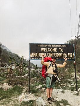 Traveler having tour around world