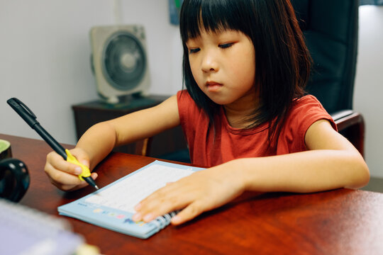 Chinese little girl learning to write