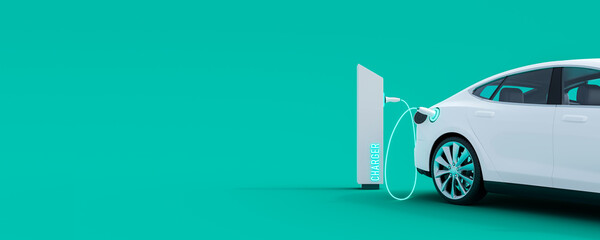 White electric car connected to power station charger on green background 3D Rendering, 3D...