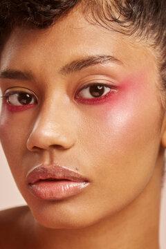 Pink eye make up close up