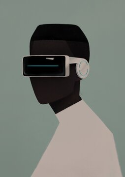 portrait of a black man in VR glasses . virtual reality concept