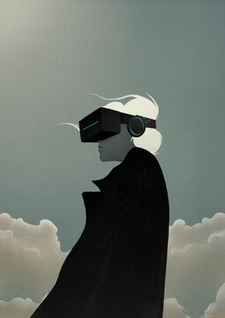 Portrait of a woman in VR glasses on sky background. virtual reality concept