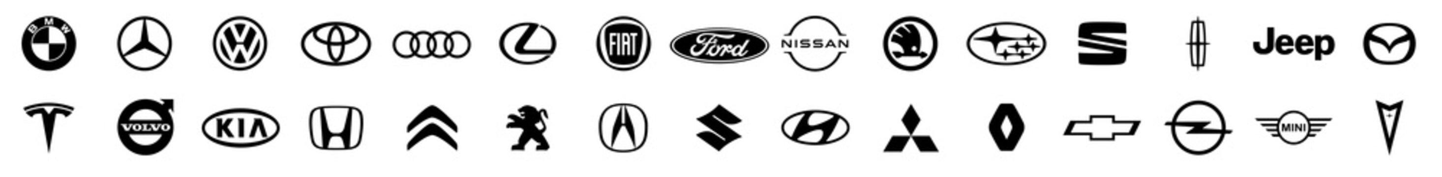Logo of cars brand set. Black logo of popular brands of cars on a white background. Automotive industry leaders. Volkswagen, bmw, mercedes, toyota, lexus, audi, honda, ford, chevrolet, mazda. Vector