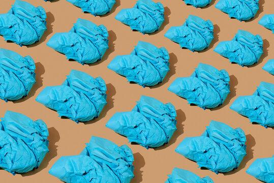 mosaic of blue paper balls