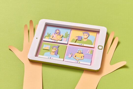 Handmade tablet with image of video online chat.