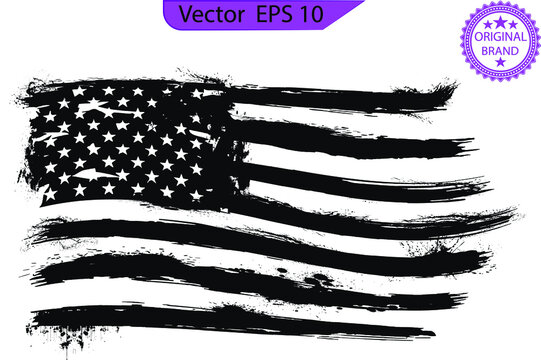 USA Flag - Distressed American flag with splash elements, eps 10, patriot flag, military flag, American flag. Only commercial use
