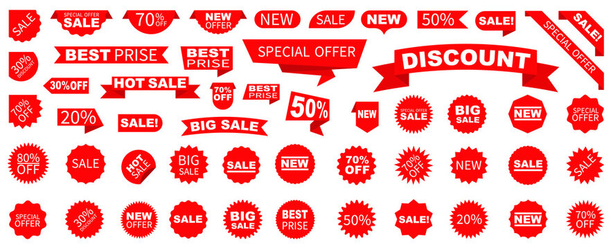 Sale Label collection set. Set ribbon banner and label sticker sale offer and badge tag sale advertising. Discount red ribbons, banners and icons. Cffer discount coupons. Vector illustration.