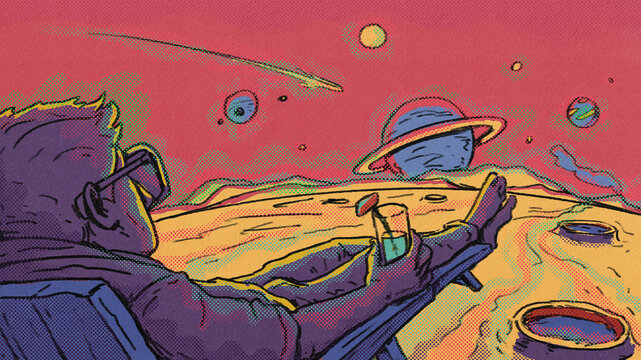 Space Tourist On Lounge Enjoying The View Of Space On Another Planet