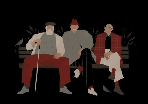 elderly men sit on a bench. Aging up concept
