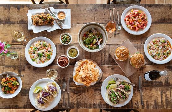 Family style dinner table.