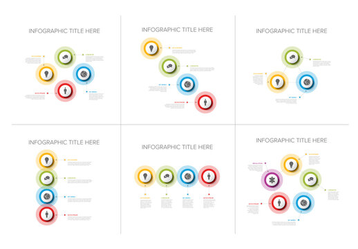 Collection of Six Simple Circle Infographic Layouts