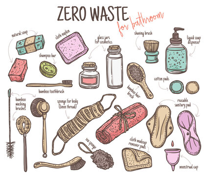 Vector set of durable items and products for zero waste home and bathroom. Ecological lifestyle collection of cosmetics care products, brushes, washing, feminine hygiene. Linear hand drawn doodle