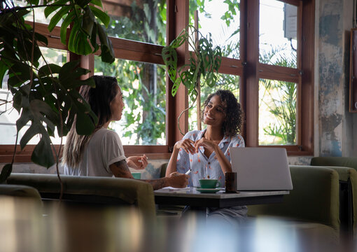 Two female entrepreneurs on a meeting