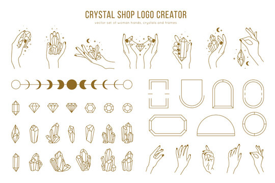 Crystal shop vector logo creator with different woman hands, frames, gemstones and female hands holding crystals. Trendy minimal linear style, simple design, modern logos.