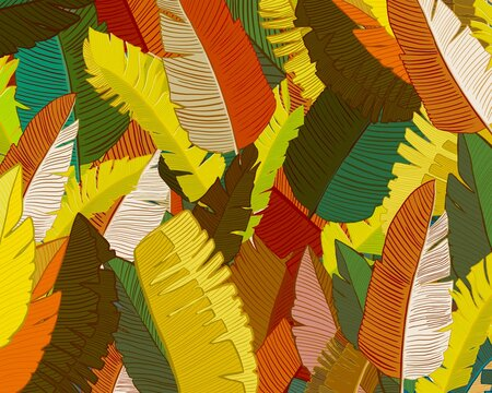 Vector background of colorful leaves