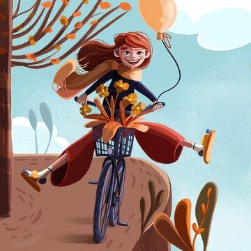 Redheaded girl on a bike