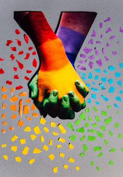 LGBT rainbow hands collage