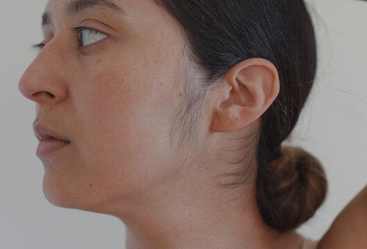 latina woman showing baby hairs