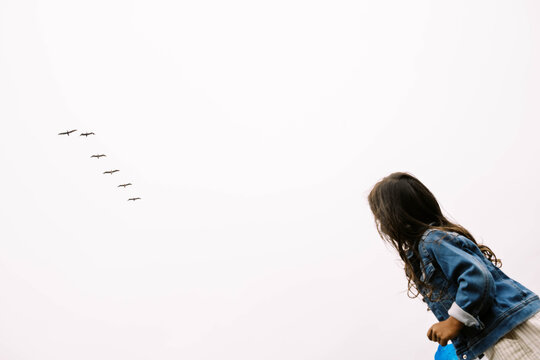 Child on shoulders looking up at birds in sky