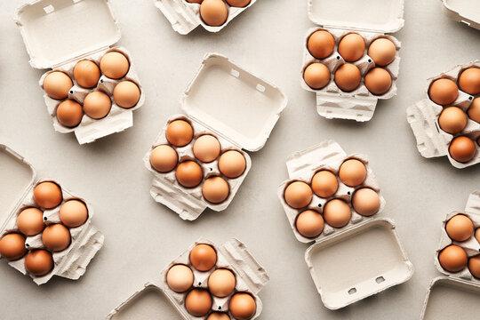 Carton boxes with brown eggs